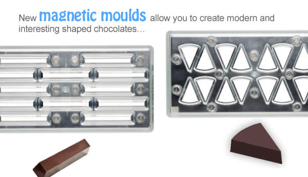 New magnetic moulds allow you to create modern and interesting shaped chocolates…