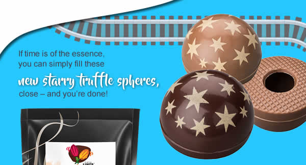 If time is of the essence, you can simply fill our new starry truffle spheres, close – and you're done!