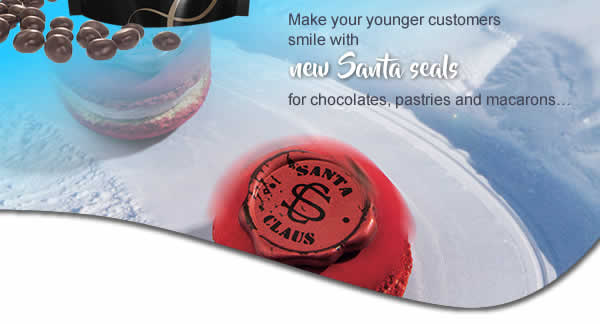 Make your younger customers smile with new Santa seals for chocolates, pastries and macarons…