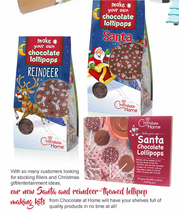 With so many customers looking for stocking fillers and Christmas gift/entertainment ideas, our new Santa and reindeer-themed lollipop making kits from Chocolate at Home will have your shelves full of quality products in no time at all!