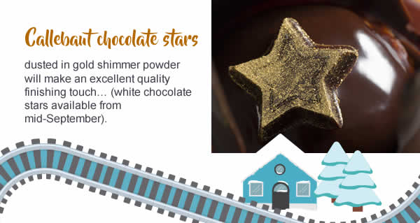 Callebaut chocolate stars dusted in gold shimmer powder will make an excellent quality finishing touch…